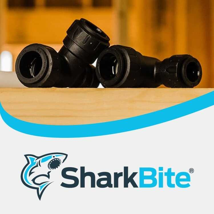 SharkBite logo with pipe fitting