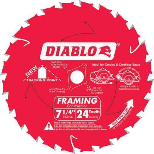 Diablo 7-1/4 In. 24-Tooth Framing Circular Saw Blade, Bulk