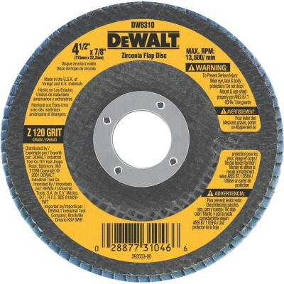 DeWalt 4-1/2 In. 120-Grit Type 29 High Performance Zirconia Angle Grinder Flap Disc