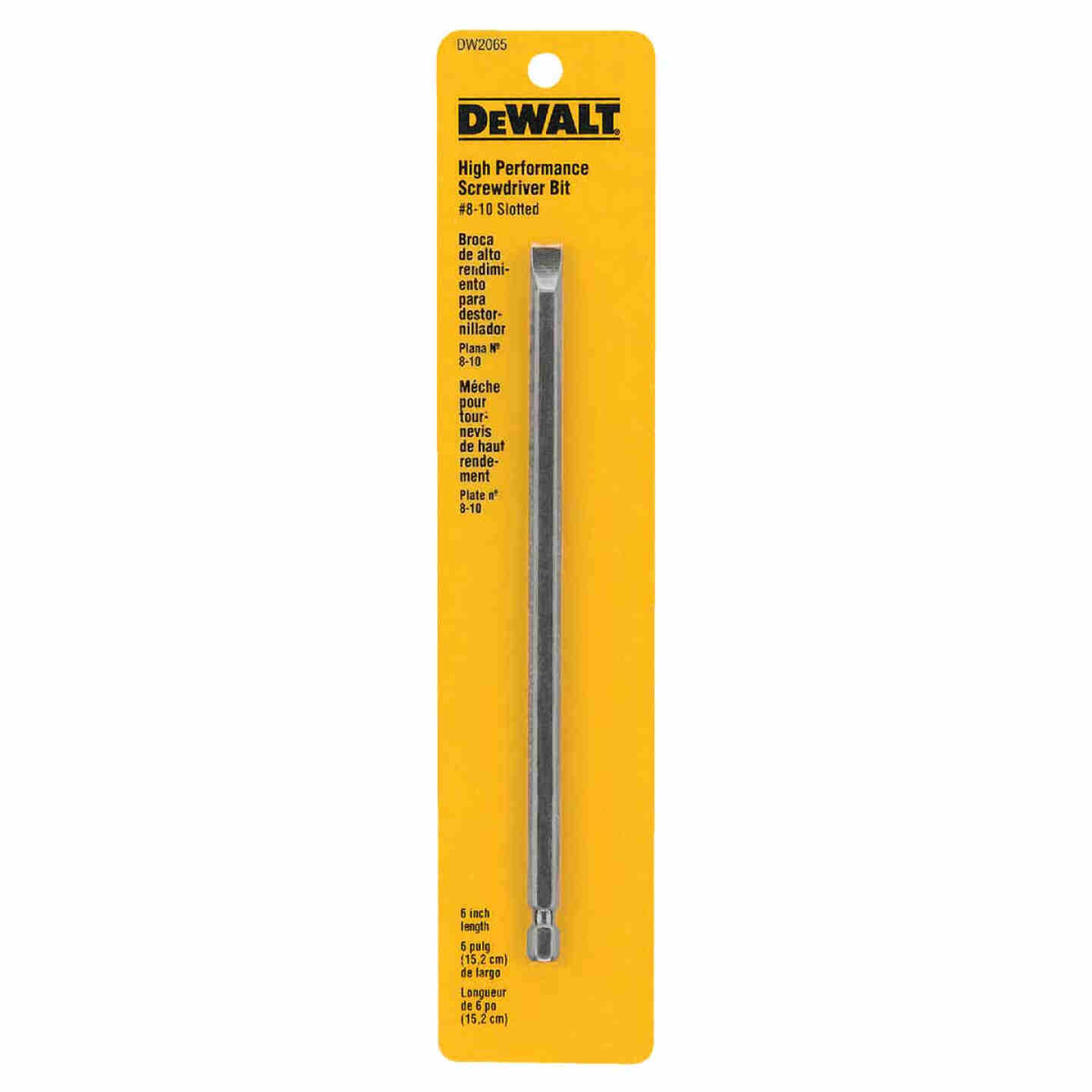 DeWalt Slotted #8-10 6 In. 1/4 In. Power Screwdriver Bit Image 1