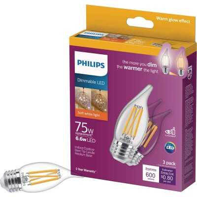 Philips Warm Glow 75W Equivalent Soft White BA11 Medium Dimmable LED Light Bulb (3-Pack)