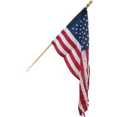 Valley Forge 2.5 Ft. x 4 Ft. Nylon American Flag & 5 Ft. Pole Display Kit